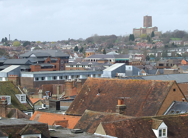 English: Guildford roofscape, Surrey Taken fro...